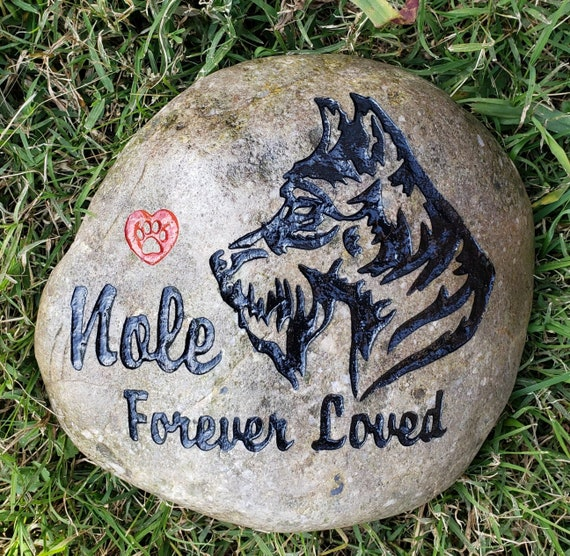 """Pet Memorial Stone 9""""/10"""" Large Rock, Dog any Breed & Name,  Option for Date or Saying,  Pet Grave Burial Marker,  Free Shipping"""