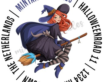 Witch on Broom Address Stickers