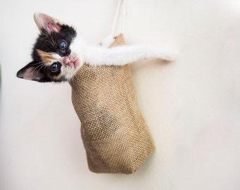 Hanging Basket, Burlap Hanging Bag,