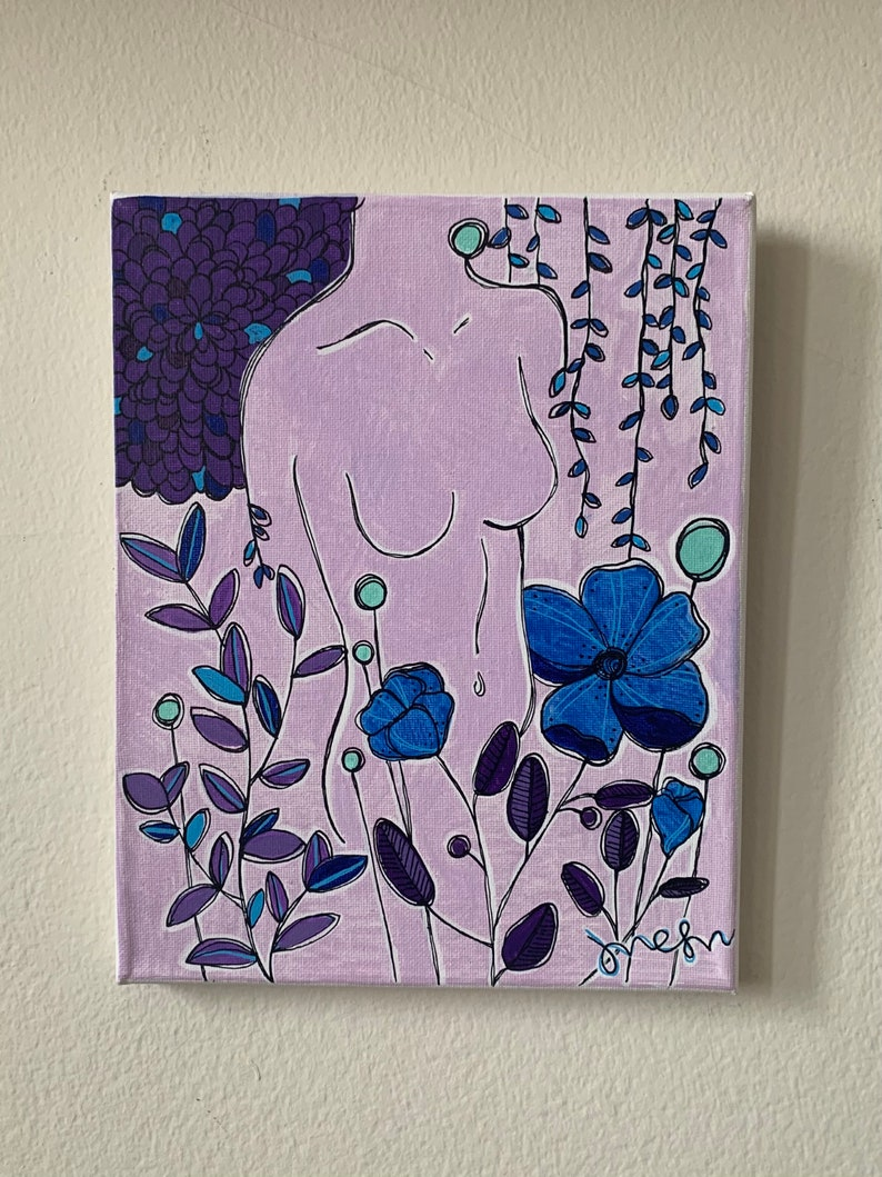 Nude Painting Acrylic and Ink Original Painting Acrylic on Canvas Floral Painting