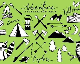 Adventure Camping Clipart Black White Version