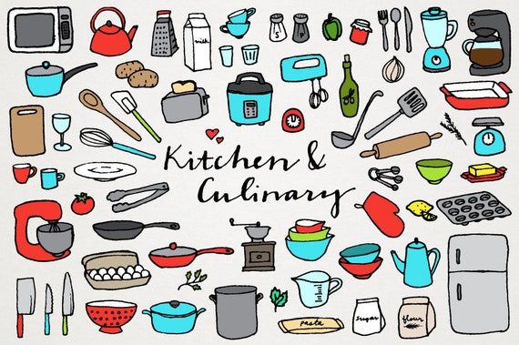 Koch bei der arbeit clipart  Küche und kulinarische Clipart Koch Clipart Küche Clipart | Etsy