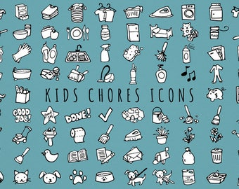 Kids Chores Icons Set [Black & White Version] - daily tasks, organizer clipart, chore chart clipart, hand drawn clipart, printable stickers