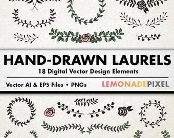 Laurels Clip Art  - Hand Drawn Clipart, floral frames, wedding clipart, Leaves clipart, vector wreaths, scapbooking, graphic design elements