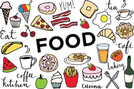 food clip art hand drawn clip art food collage sheet etsy