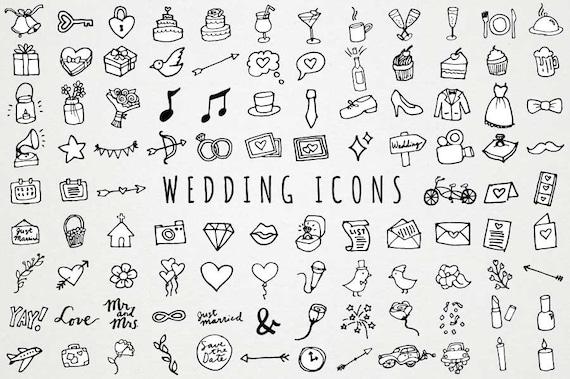 B W Hochzeit Symbole Clipart Handgezeichnete Clipart Etsy