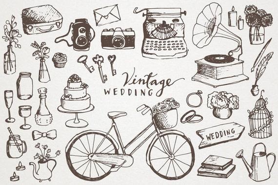 vintage wedding clipart hand drawn clip art vintage etsy rh etsy com vintage wedding clipart free images vintage wedding clipart free
