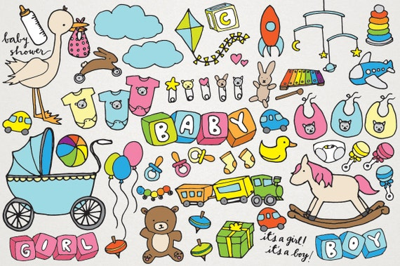 Baby Clipart Hand Drawn Clip Art New Baby Baby Shower Clip Etsy