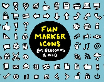 Blogger Icons Set - clipart for bloggers, web sites, planner stickers, blog clip art, marker, icons clip art, web blog and webdesign icons