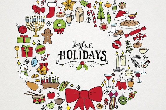 Christmas Hanukkah Kwanzaa And Other Holidays.Holiday Christmas Clipart Illustration Pack Wreath Art Holiday Clip Art Hand Drawn Clipart And Patterns Hanukkah Diwali Kwanzaa Xmas