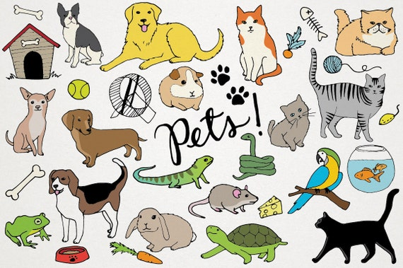 pets clipart animals clip art cats and dogs hand drawn etsy rh etsy com pet clippers for sale pet clipart black and white