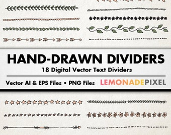 Text Dividers Clip Art - Hand Drawn Clipart, wedding clipart, Blog Dividers, Commercial Use, Decorative Border, Blog Embellishment