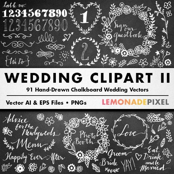 Diy Chalkboard Wedding Invitations: Chalkboard Wedding Clipart II DIY Wedding Invitation