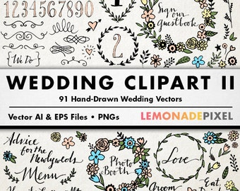 Wedding Clipart II - Floral clip art, hand drawn wedding, rustic wedding, boho clipart, casual wedding art, wedding embellishments