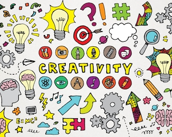 Creativity Clipart - Arts and science clipart, back to school, brain clipart, gears clipart, thought bubble, thinking clipart, learning
