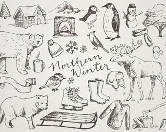 Hand Drawn Winter Clipart Northern Moose Clip Art Cold Weather Penguin Sled Snow Polar Bear Snowflakes Scrapbooking