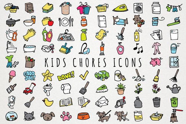 kids chores icons set daily tasks organizer clipart chore etsy rh etsy com chore chart clip art for kids chore chart clipart free