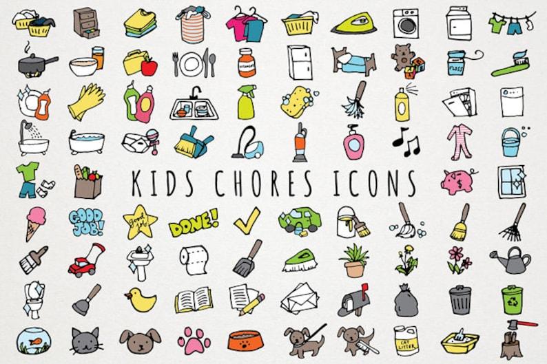 Kids Chores Icons Set daily tasks organizer clipart chore ...