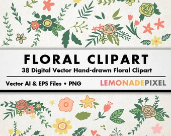 Floral Clipart - Wedding clip art, Hand drawn clipart, rustic wedding, foliage and flowers clipart, pink green yellow, digital download