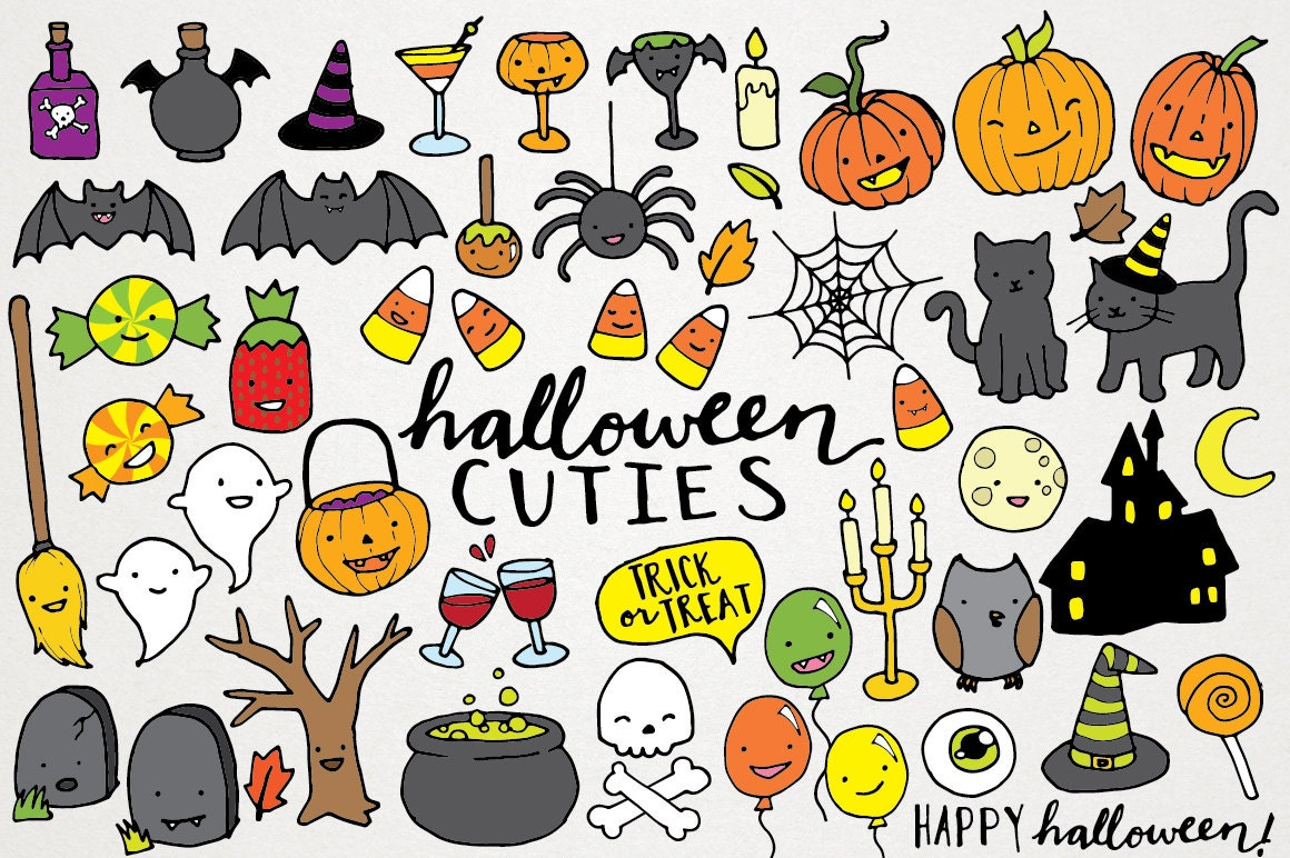 Cute Halloween Clipart hand drawn halloween clip art | Etsy