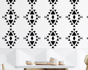 Tribal repeating pattern Mud Cloth Stencil 190 Micron Mylar Furniture Wall Art by Anna Catherine Stencils
