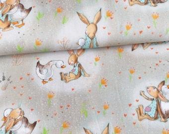 Cotton lillestoff bunny & goose light grey