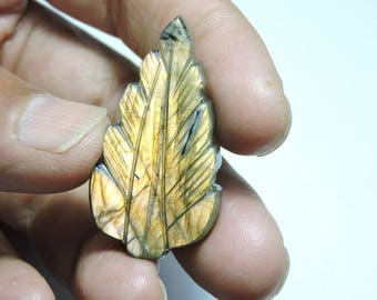 40 Carats 1 Piece Extremely Beautiful Natural Labradorite Carved Leaf Loose Gemstone Size 39X21 MM