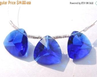 25% OFF Summer Sale 3 Pcs Trios Beautiful Royal Blue Quartz Concave Cut Trillion Shaped Briolette Size 13 MM
