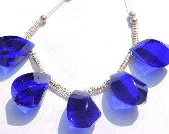 5 Pcs Set Outrageous Cobalt Blue Quartz Faceted Twisted Drops Briolette Size 19*10 MM