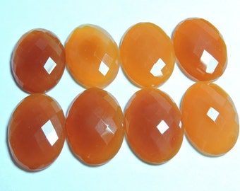 2 Pcs Matched Pair Genuine Orange Chalcedony Faceted Oval Shaped Loose Gemstone  Size 25X18 MM