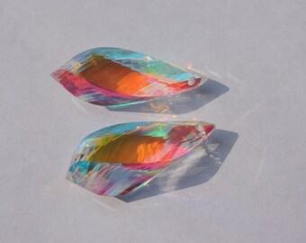 25% OFF 2 Pcs Matched Pair Rainbow Mystic Quartz Faceted Twisted Drops Briolette Size 30*10 MM
