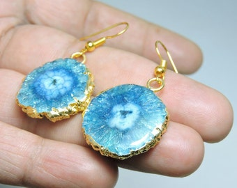 22 Kt Gold Electroplated Edge Natural Sky Blue Solar Quartz Druzy Earings Pair Size 23X23 MM