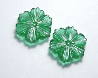 2 Pcs Matched Pair New Arrival Beautiful Natural Green Onyx Hand Carved Flower Shaped Loose Gemstone Size 20X20 MM