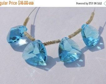 25% OFF Summer Sale 4 Pcs Beautiful Sky Blue Quartz Concave Cut Trillion Shaped Briolette Size 13 MM
