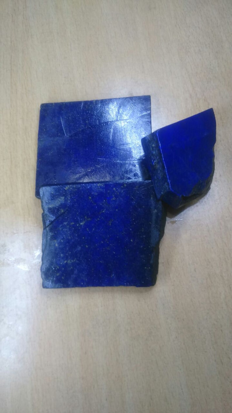 Summer Sale 3 Pcs 930 Carats Top Quality Genuine Lapis Lazuli Rough Slabs Lapis Lazuli Afghanistan Finest Rough Slabs For Cabochons