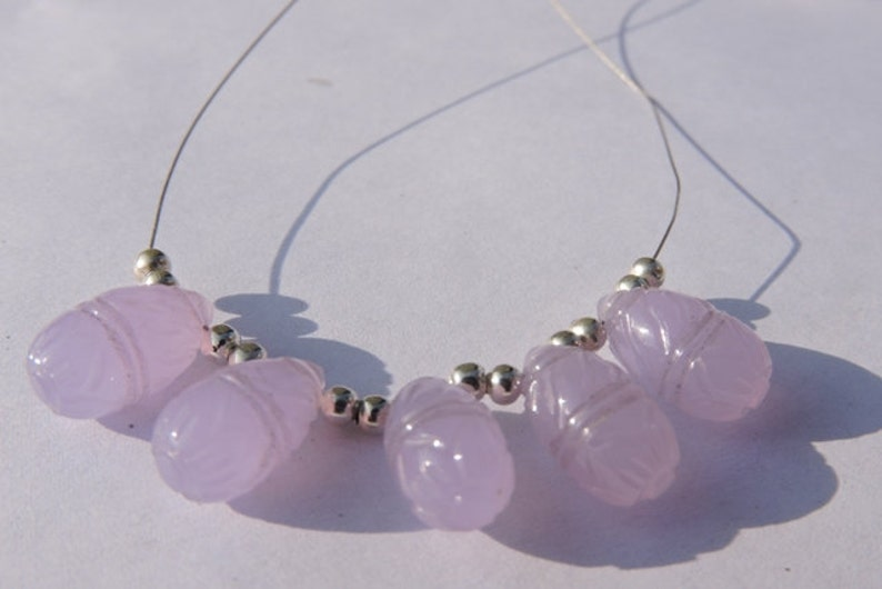 Summer Sale 5 Pcs Beautiful Lavender Chalcedony Carved Drops Briolette Size 15*8 MM