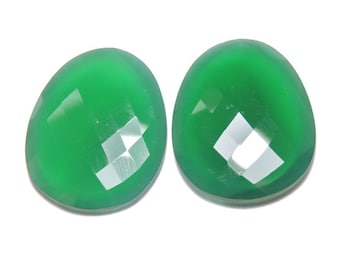 2 Pieces Extremely Beautiful Natural Green Onyx Faceted Irregular Shaped Loose Gemstone Size 30X27 MM