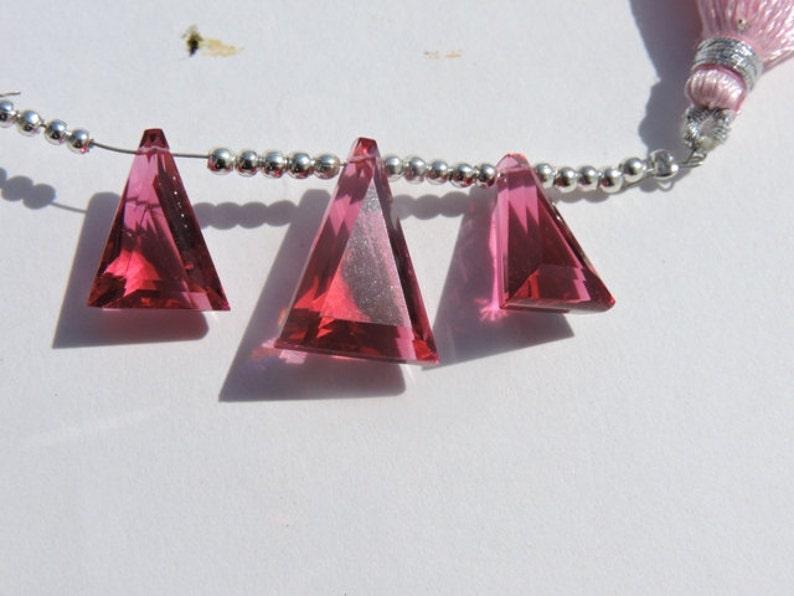Summer Sale 25/% OFF 3 Pcs Rubelite Hot Pink Quartz Faceted Fancy Briolette Size 16*11-19*14 MM