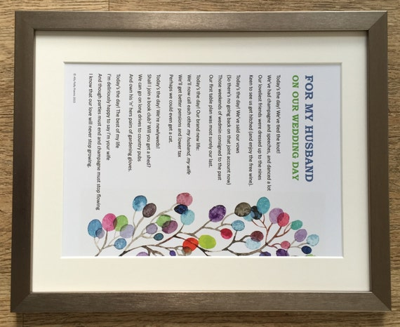 Framed romantic poem: \'For my wife/husband on our wedding | Etsy