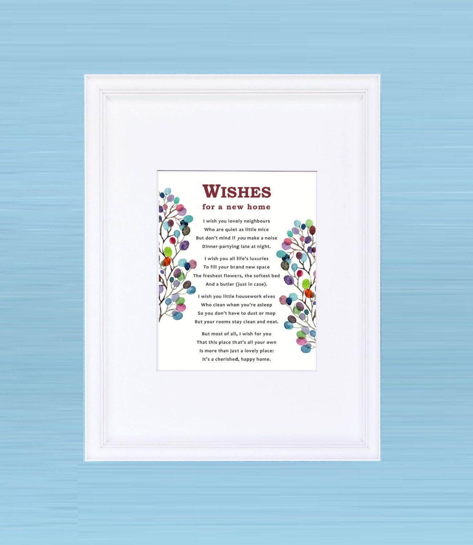 Framed Poem Wishes For Your New Home Framed Print Etsy