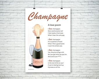 Poem for a Champagne-lover (unframed), ideal Valentine's Day gift, poem for anyone who loves a glass of fizz... celebration poem gift