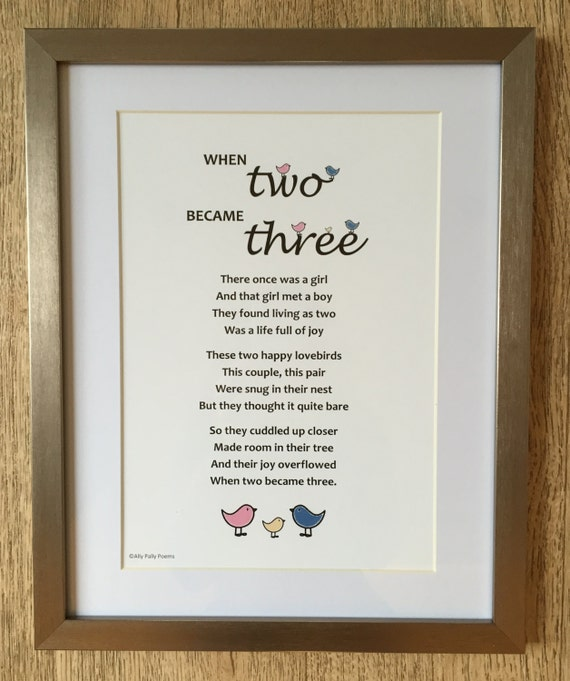 Poem for new baby \'When two became three\' gift for | Etsy
