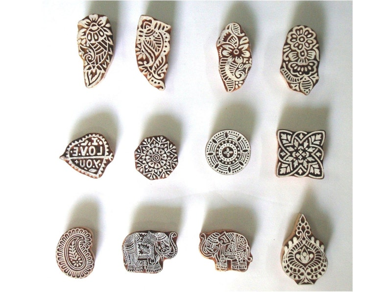 Paper Stamping Craft Pottery 12 Pieces Assorted Blocks Indian Wood Printing Stamps Fabric Block Printing Textile