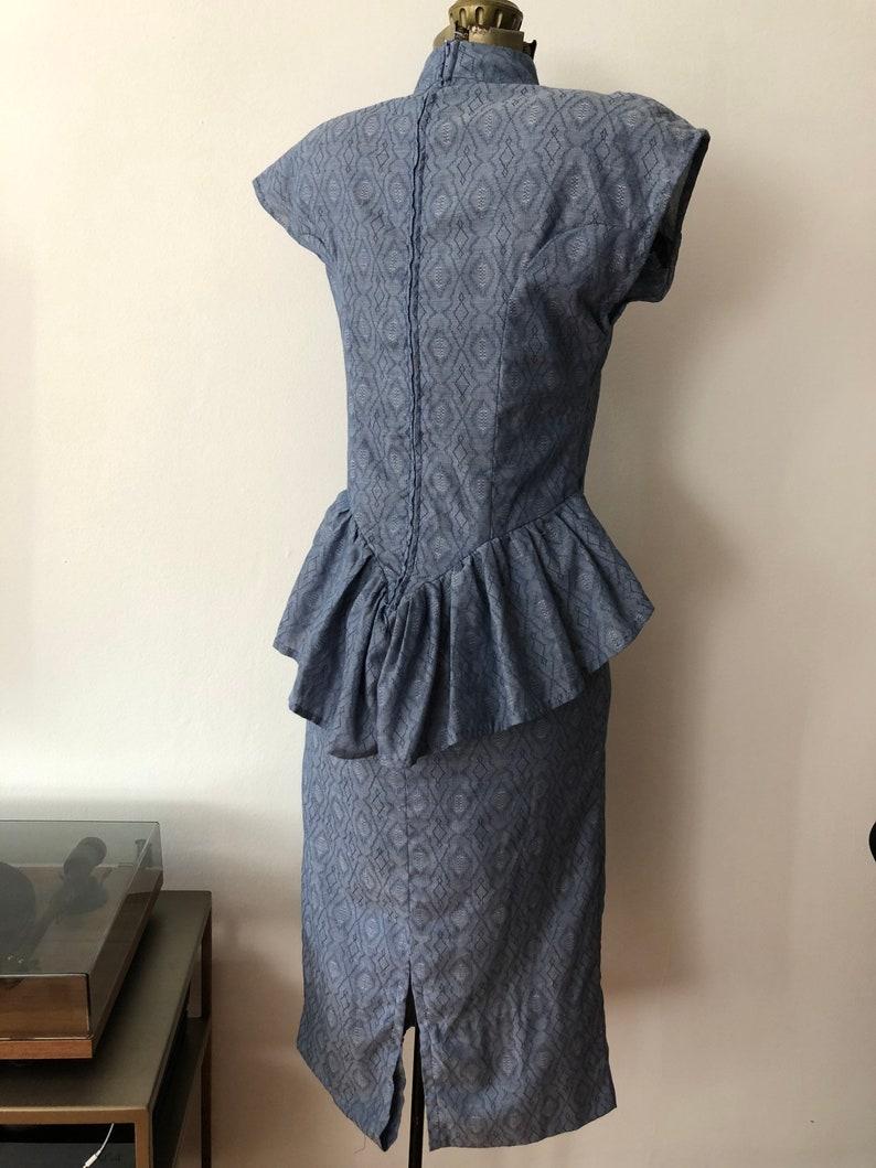 Vintage Homemade 1980s Blue Cotton Dress