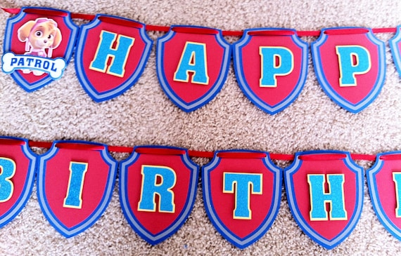Paw Patrol Happy Birthday Banner Party