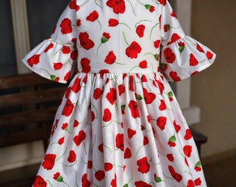 Last One!  Ready to Ship!  Size 4T Leighton Bell Sleeve Poppy Flower Dress