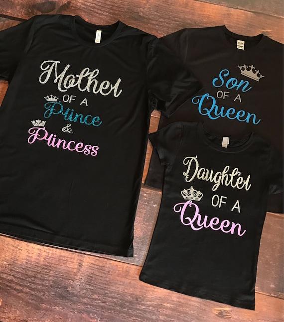 Mother of a Princess Daughter of a Queen Matching Tee Top T-shirt Mummy /& Me