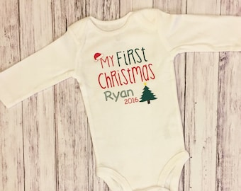 First christmas, my first christmas, babies first christmas, christmas bodysuit, baby bodysuit, personalized bodysuit