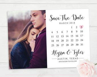 Save the Date Calendar, Wedding Save The Date Card, Photo Calendar Save the Date, Wedding Invitation Calendar Printable, Photo Save The Date