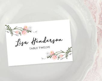 Printable Place Cards, Wedding Place Cards, Wedding Name Cards Watercolor Wedding Seating Place Cards, Floral Wedding Template
